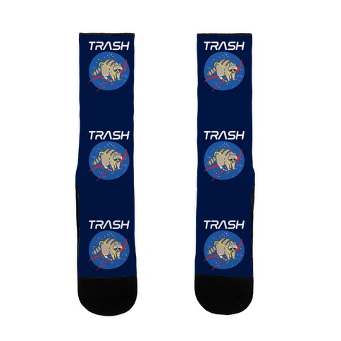 Trash Raccoon Nasa Logo Parody White Print Sock