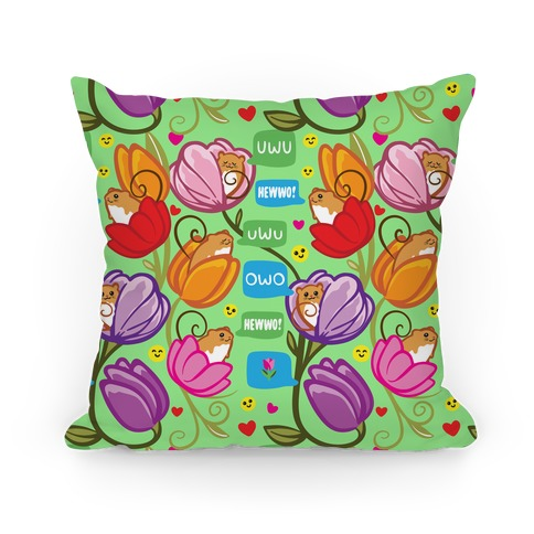 Harvest Mice Emoji Floral Pattern Pillow