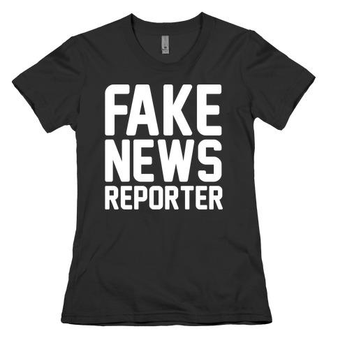 Fake News Reporter White Print Womens T-Shirt