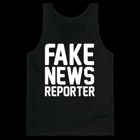 Fake News Reporter White Print Tank Top