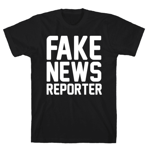 Fake News Reporter White Print Mens T-Shirt