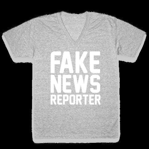 Fake News Reporter White Print V-Neck Tee Shirt