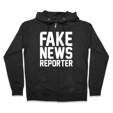Fake News Reporter White Print Zip Hoodie