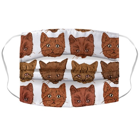 Sepia Kitten Square Pattern Accordion Face Mask