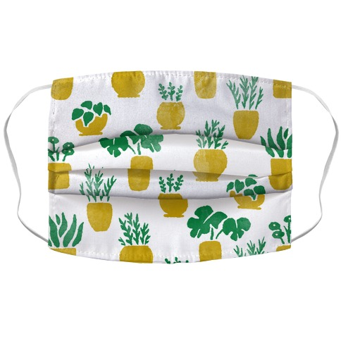 Watercolor Houseplants Pattern White Accordion Face Mask