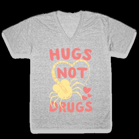 Hugs Not Drugs - Facehugger V-Neck Tee Shirt
