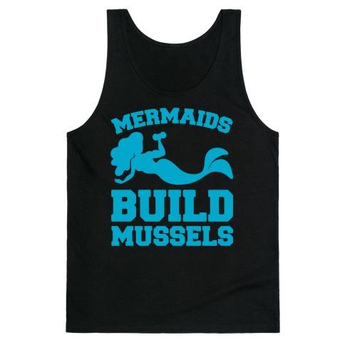 Mermaids Build Mussels White Print Tank Top