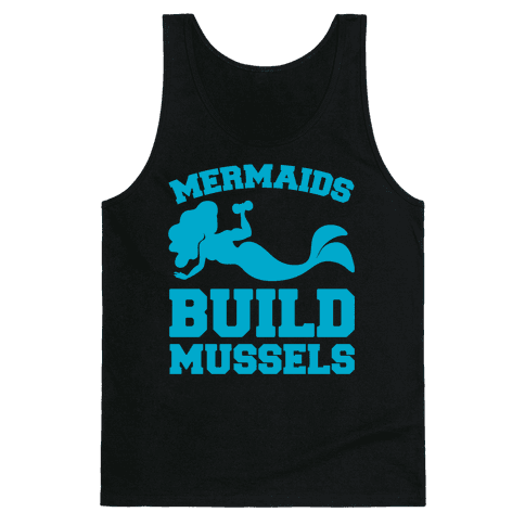 Mermaids Build Mussels White Print Tank Top