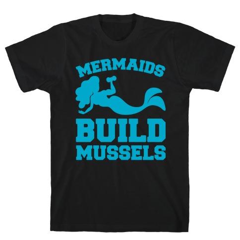 Mermaids Build Mussels White Print T-Shirt