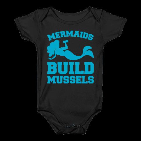 Mermaids Build Mussels White Print Baby Onesy