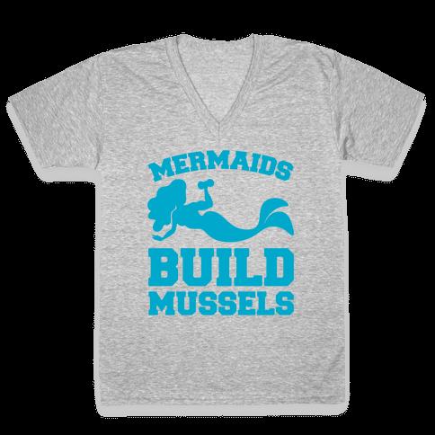 Mermaids Build Mussels White Print V-Neck Tee Shirt