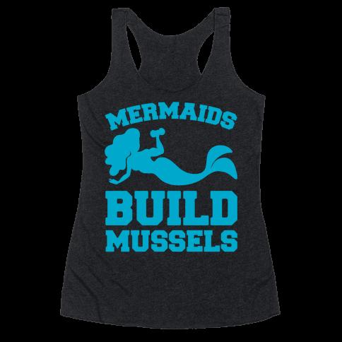Mermaids Build Mussels White Print Racerback Tank Top