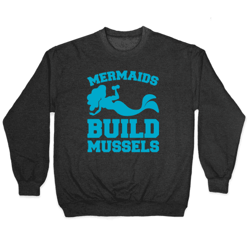 Mermaids Build Mussels White Print Pullover