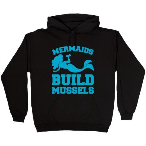 Mermaids Build Mussels White Print Hooded Sweatshirt