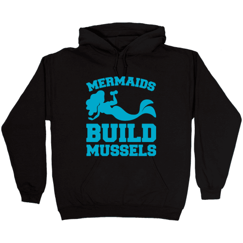 Mermaids Build Mussels White Print Hooded Sweatshirt
