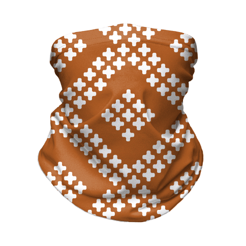 Little Cross Pattern Rust Orange Neck Gaiter