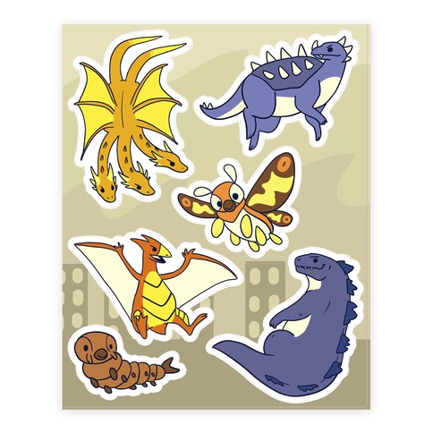 Godzilla and Friends Sticker and Decal Sheet