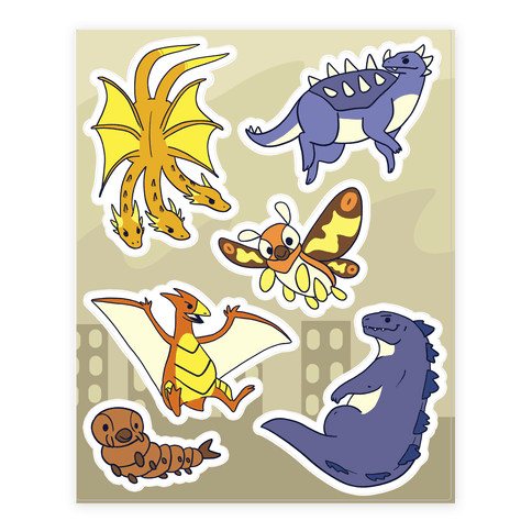 Godzilla and Friends Sticker/Decal Sheet