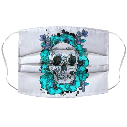 Skull on a Bed of Poppies Blue Accordion Face Mask