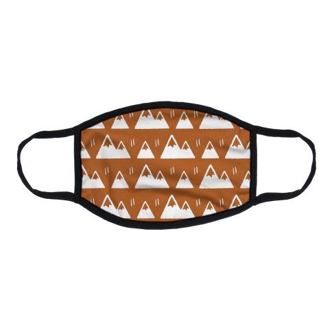 Mountains Boho Pattern Rust Flat Face Mask