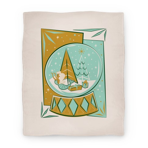 Mid-Century Modern Mermaid Holiday Snow Globe Blanket