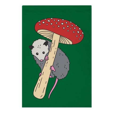 Opossum Mushroom Garden Flag
