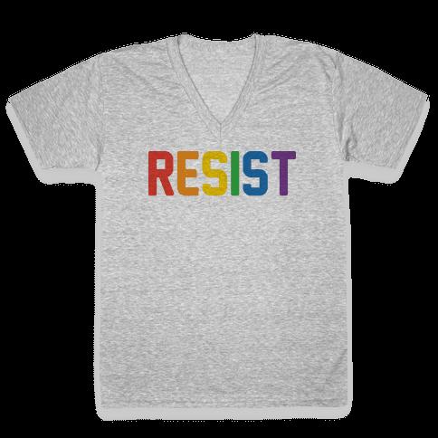 LGBTQ+ Resist V-Neck Tee Shirt