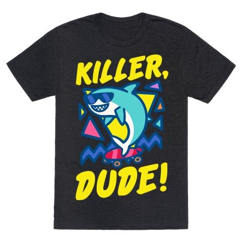 Killer Dude Shark White Print T-Shirt