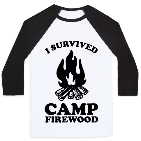 I Survived Camp Firewood Baseball Tee