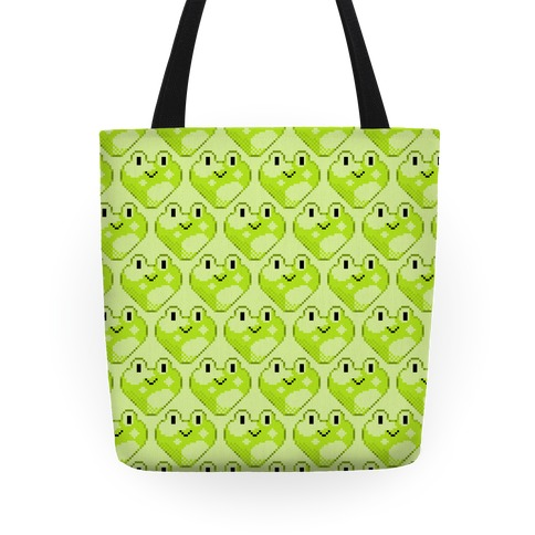 Pixel Frog Hearts Tote