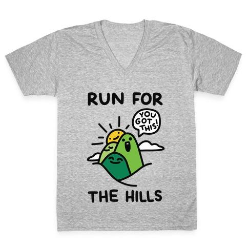 Run For The Hills V-Neck Tee Shirt