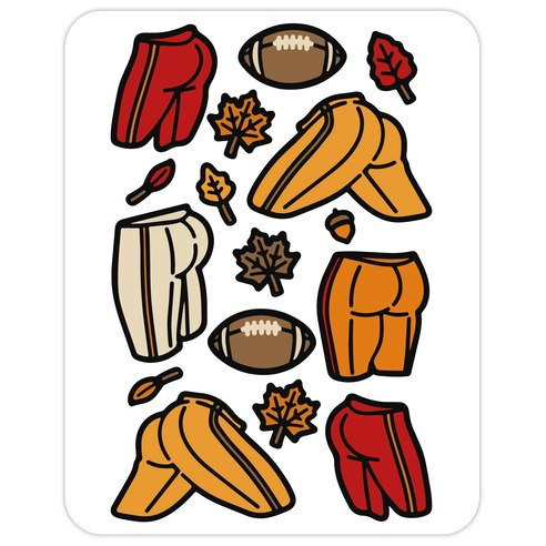 Fall Football Butts  Die Cut Sticker