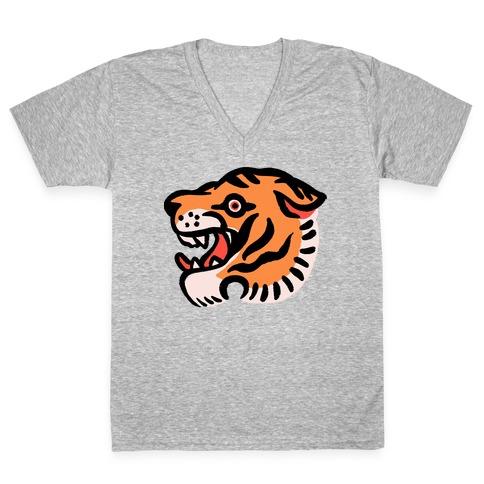 Old School Tiger Tattoo Head V-Neck Tee Shirt