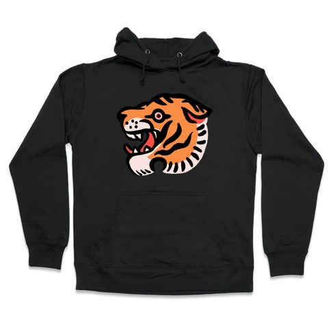82fd57846 Old School Tiger Tattoo Head Hoodie | LookHUMAN