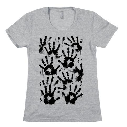 BT Handprints Pattern Womens T-Shirt