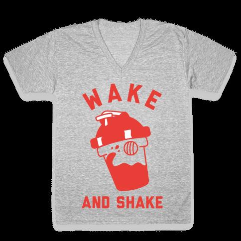 Wake And Shake V-Neck Tee Shirt