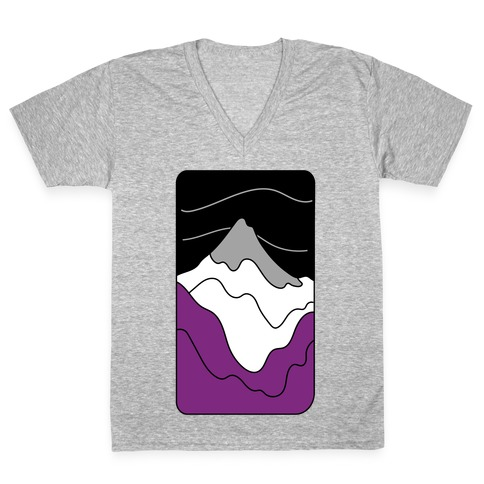 Groovy Pride Flag Landscapes: Ace Flag V-Neck Tee Shirt
