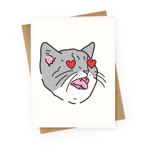 Cat With Heart Eyes Greeting Card