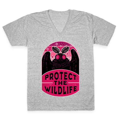 Protect the Wildlife (Mothman) V-Neck Tee Shirt