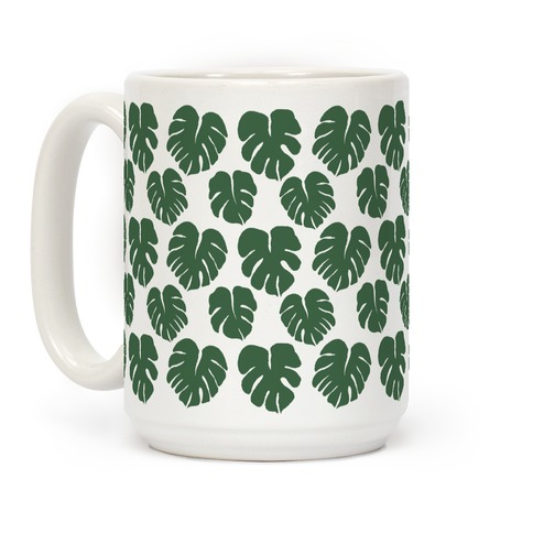 Monstera Simple Boho Pattern Green Coffee Mug