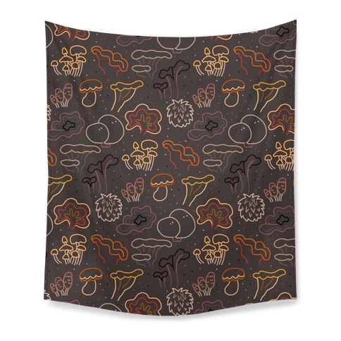 Fall Mushrooms (Dark Background)  Tapestry