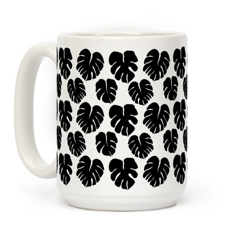Monstera Simple Boho Pattern Black and White Coffee Mug