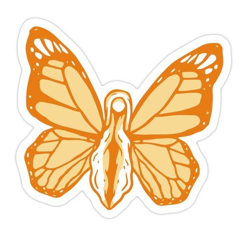 Yellow Butterfly Vagina Die Cut Sticker