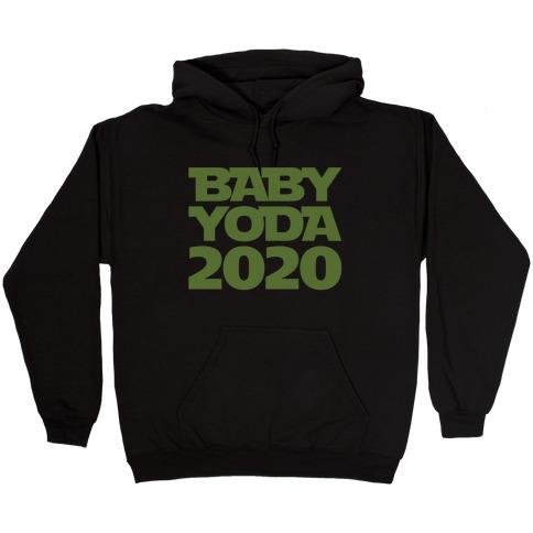 Baby Yoda 2020 Parody White Print Hooded Sweatshirt
