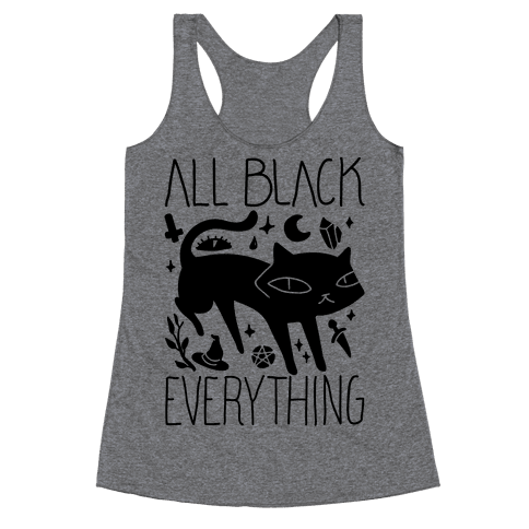 All Black Everything Cat Racerback Tank Top