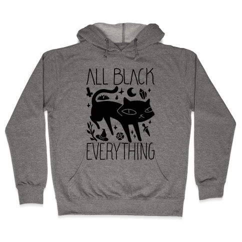 All Black Everything Cat Hooded Sweatshirt