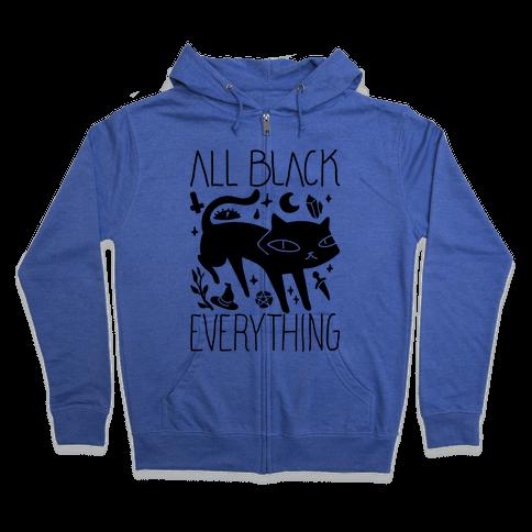 All Black Everything Cat Zip Hoodie