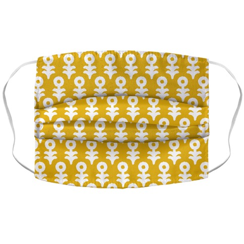 Minimal Flower Boho Pattern Yellow Accordion Face Mask