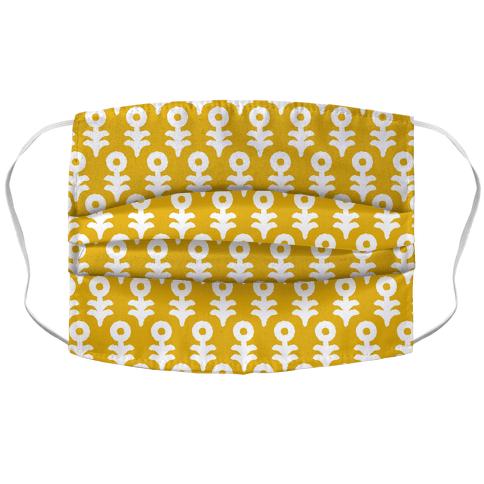 Minimal Flower Boho Pattern Yellow Face Mask Cover
