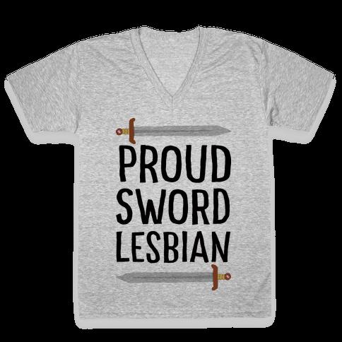Proud Sword Lesbian V-Neck Tee Shirt